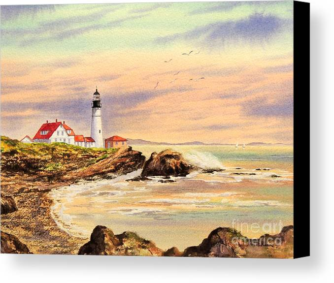 Lighthouse Canvas Print featuring the painting Portland Head Lighthouse Maine by Bill Holkham