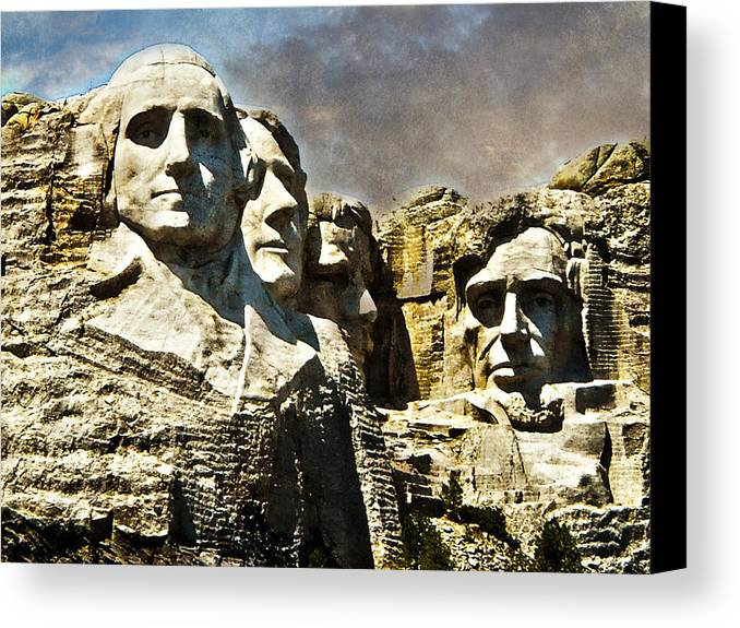 Rushmore Canvas Print featuring the photograph Presidential Rocks by Judy Hall-Folde