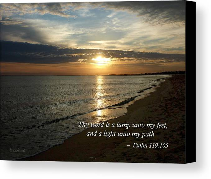 Religious Canvas Print featuring the photograph Psalm 119-105 Your Word Is A Lamp by Susan Savad