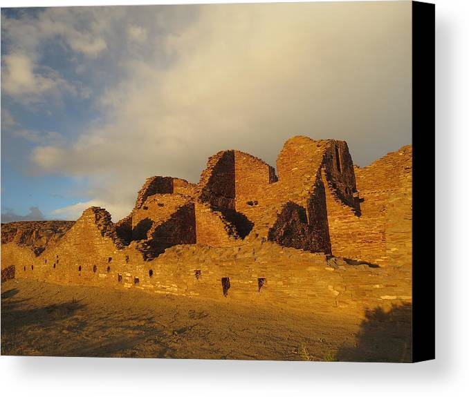 Chaco Canvas Print featuring the photograph Pueblo Del Arroyo At Sunset II by Feva Fotos