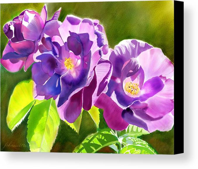 Purple Canvas Print featuring the painting Purple Roses by Joan A Hamilton