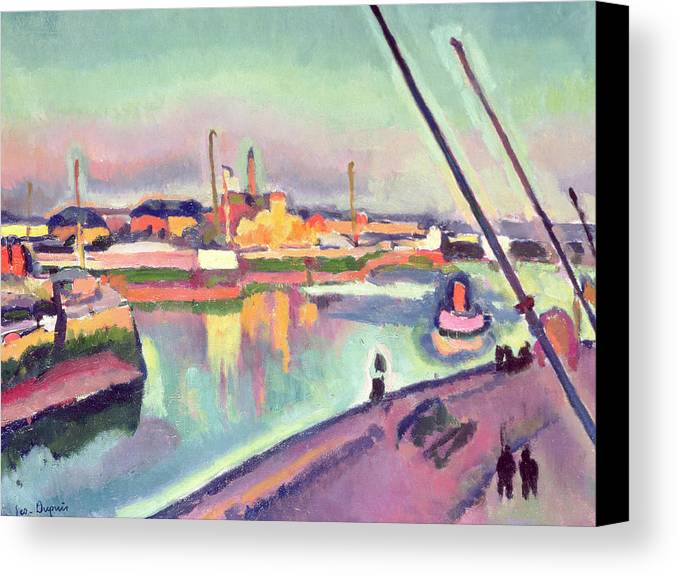 Boat Canvas Print featuring the painting Quai Notre Dame Le Havre by Georges Dupuis