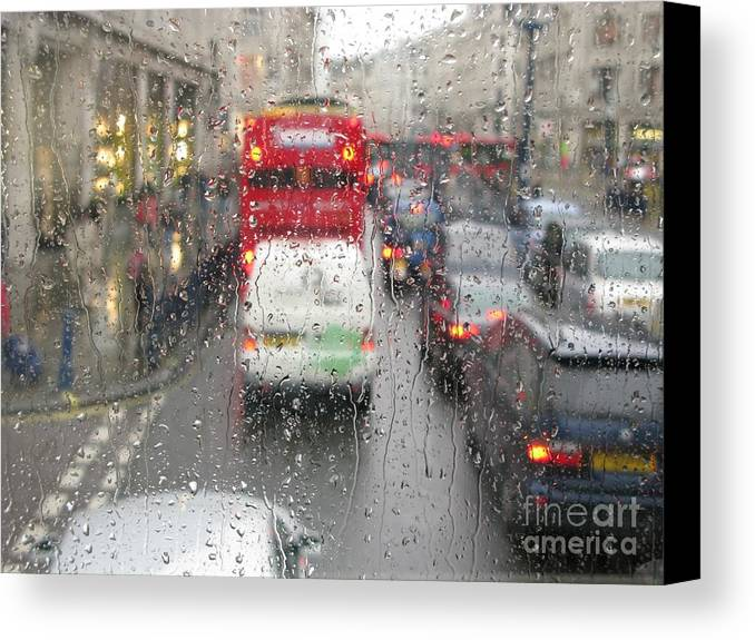 London Canvas Print featuring the photograph Rainy Day London Traffic by Ann Horn
