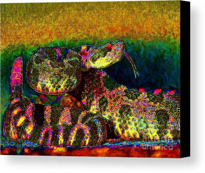 Rattlesnake Canvas Print featuring the photograph Rattlesnake 20130204p0 by Wingsdomain Art and Photography