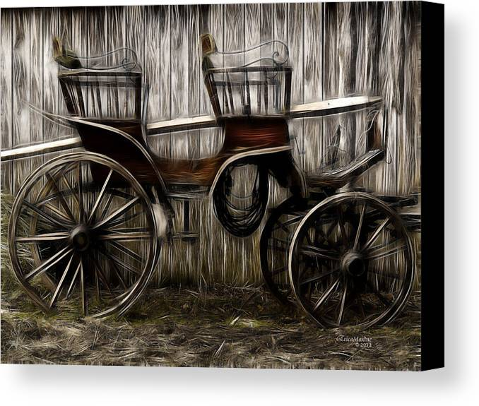 Coach Canvas Print featuring the photograph Ready To Ride - Featured In Both Groups Spectacular Artworks Of Faa And Cards For All Occ by Ericamaxine Price