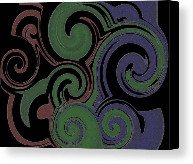 Swirl Canvas Print featuring the digital art Red Green Blue Swirls Lines by Ron Hedges