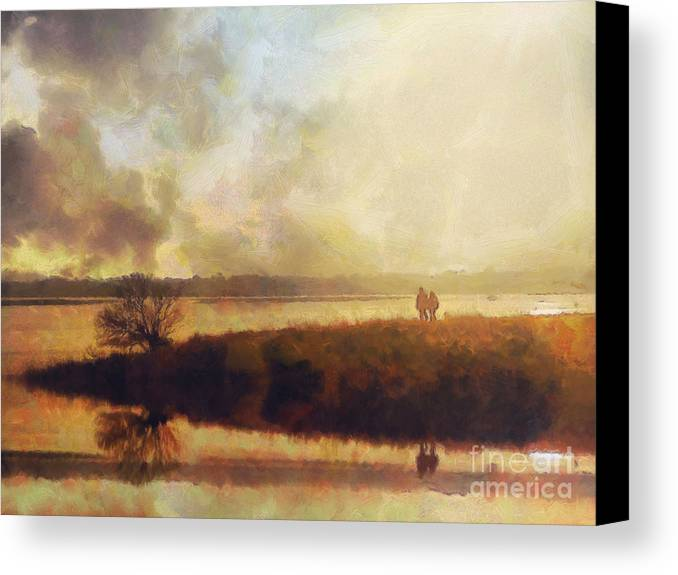 Impressionist Canvas Print featuring the painting Reflections by Pixel Chimp