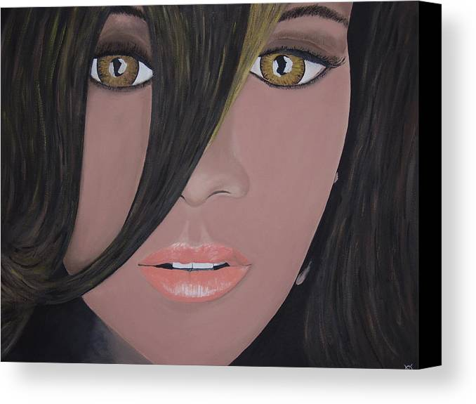 Acrylic Painting Canvas Print featuring the painting Rihanna by Dean Stephens