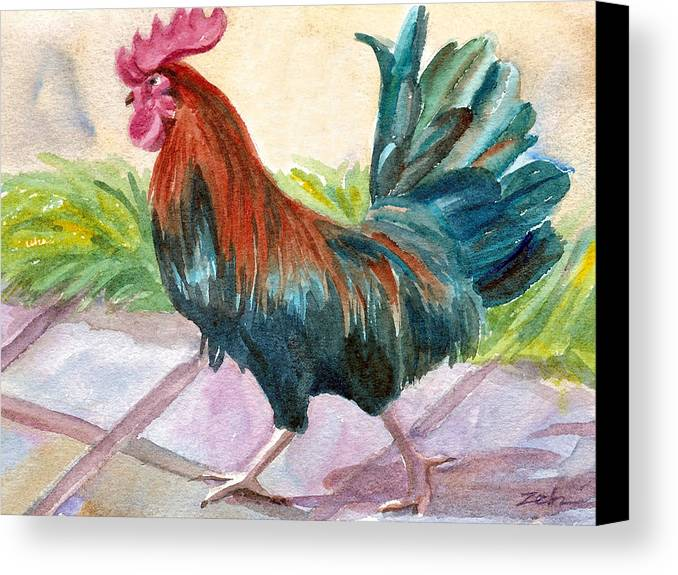 Rooster Art Canvas Print featuring the painting Rooster by Janet Zeh