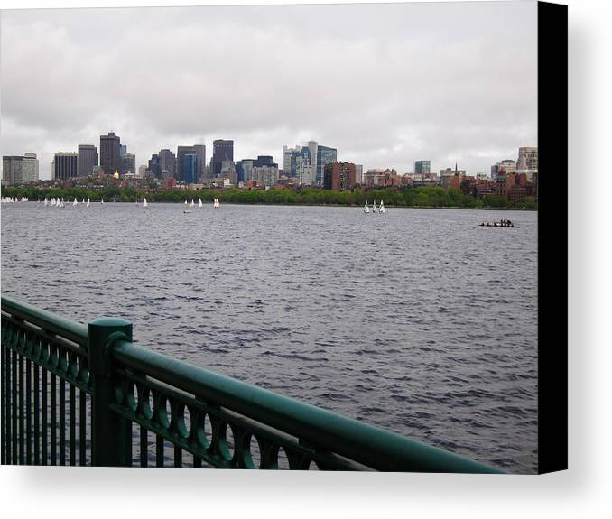 Boston Canvas Print featuring the photograph Rowers And Sailboats by Linda Ryan