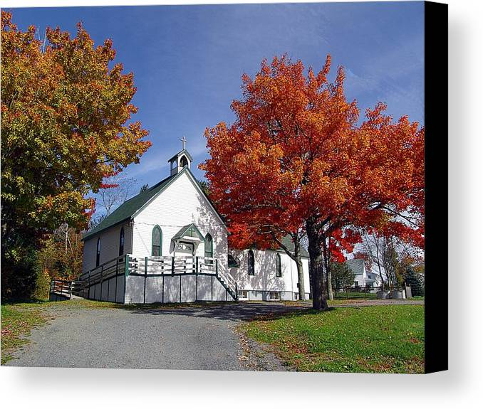 Janet Ashworth Canvas Print featuring the mixed media Rural Church In Autumn by Janet Ashworth