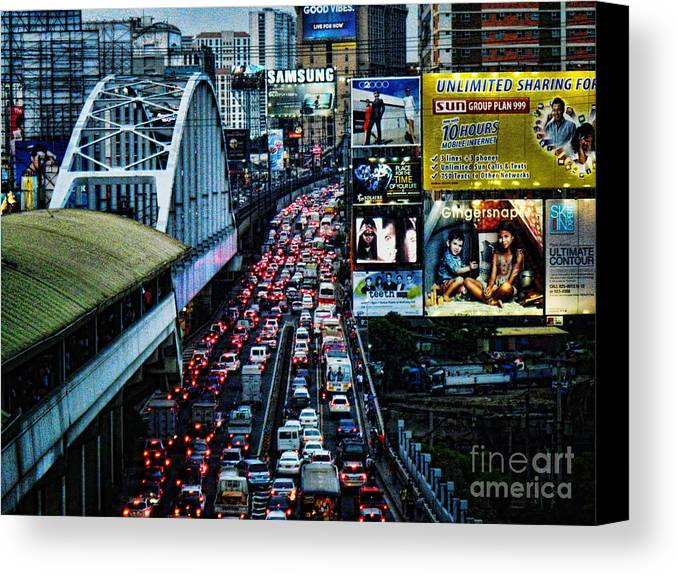 Ron Roberts Photography Canvas Print featuring the photograph Rush Hour Manila Philippines by Ron Roberts