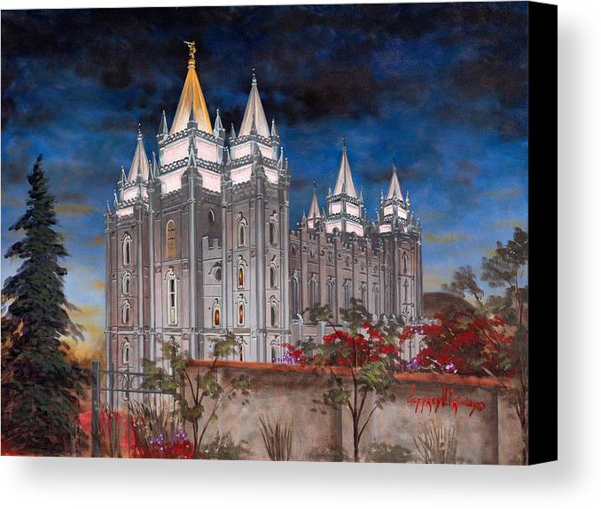 Temple Canvas Print featuring the painting Salt Lake Temple by Jeff Brimley