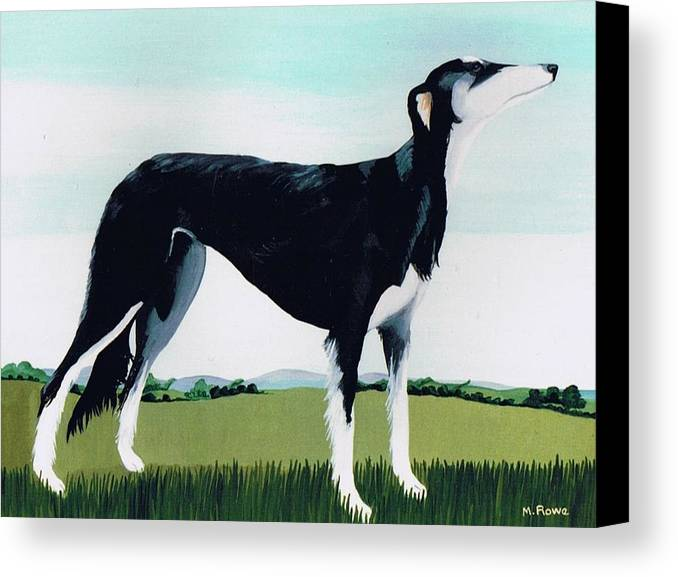 Saluki Cross Canvas Print featuring the painting Saluki Cross by Maggie Rowe