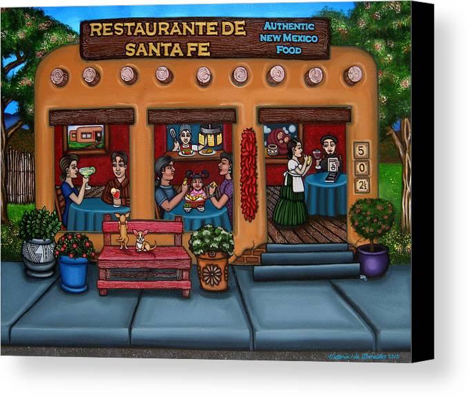 Folk Art Canvas Print featuring the painting Santa Fe Restaurant by Victoria De Almeida