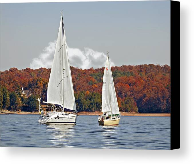 Two Canvas Print featuring the photograph Seasonal Sailing by Susan Leggett