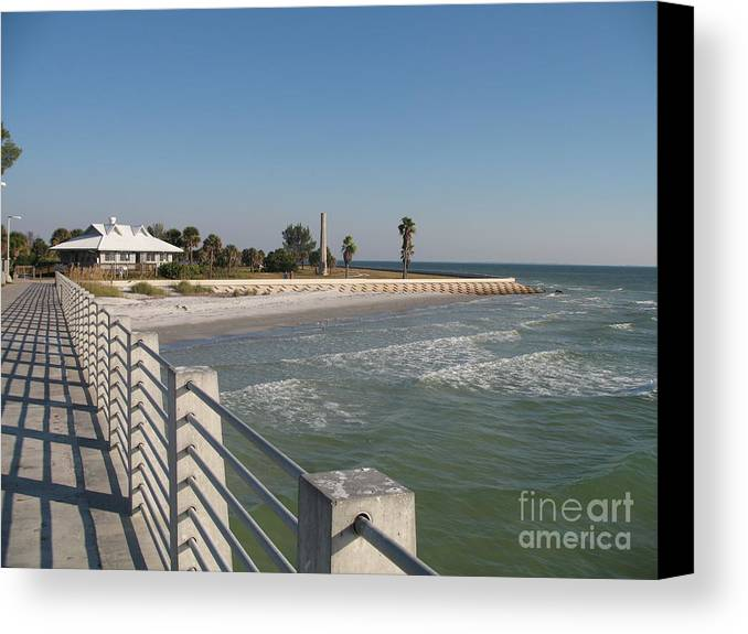 Pier Canvas Print featuring the photograph Shadow On The Pier by Christiane Schulze Art And Photography