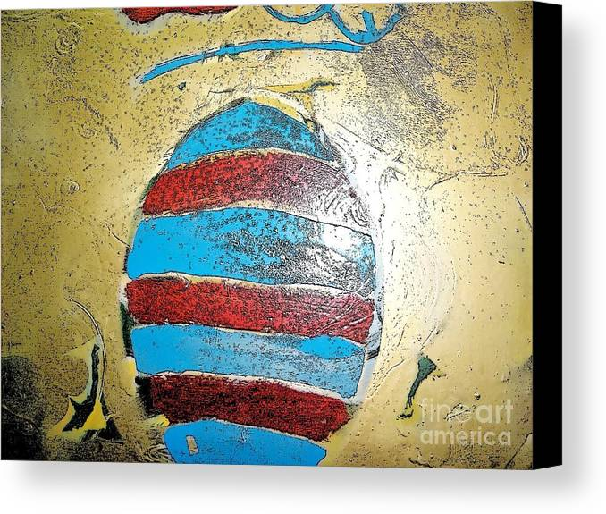 Gold Canvas Print featuring the digital art Shield by Luksa Obradovic