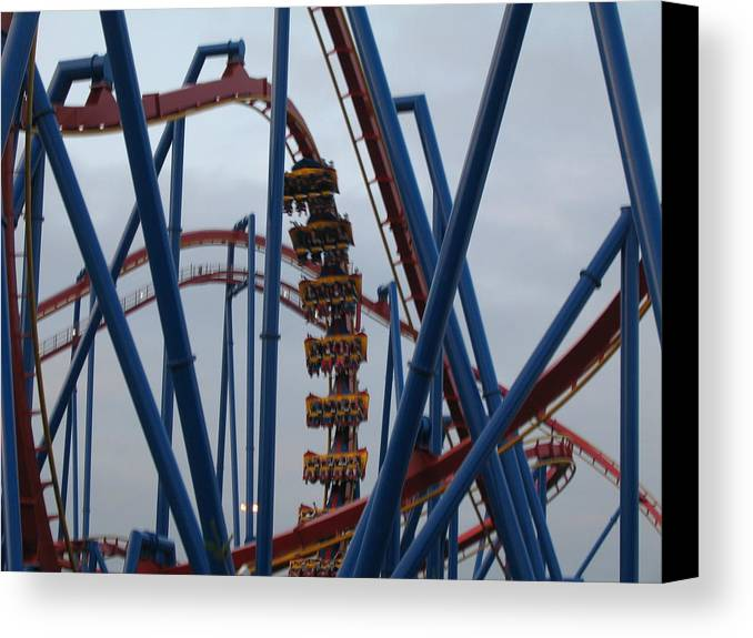 Six Canvas Print featuring the photograph Six Flags Great Adventure - Medusa Roller Coaster - 12125 by DC Photographer