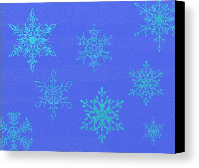 Blue Canvas Print featuring the digital art Snowflakes by Eric Forster