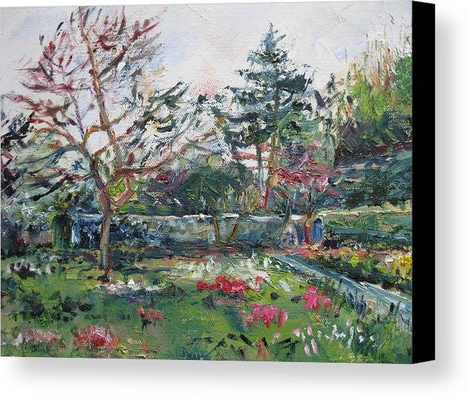 Oil Canvas Print featuring the painting Springtime In Monets Garden by Niamh Slack