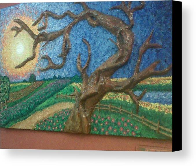 Original 100% Hand Painted Oil Painting Canvas Print featuring the relief Stark Tree. by Geetanjali Kapoor