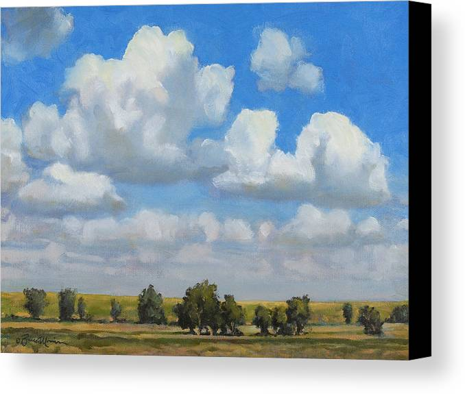 Landscape Canvas Print featuring the painting Summer Pasture by Bruce Morrison