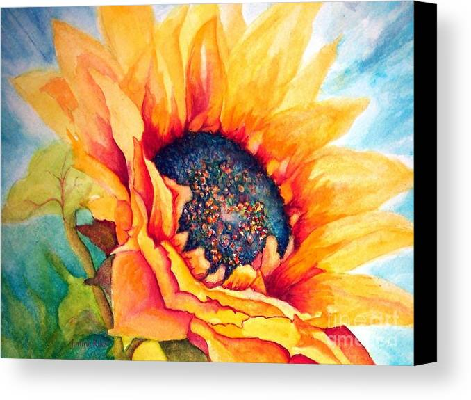 Sunflower Canvas Print featuring the painting Sunflower Joy by Janine Riley