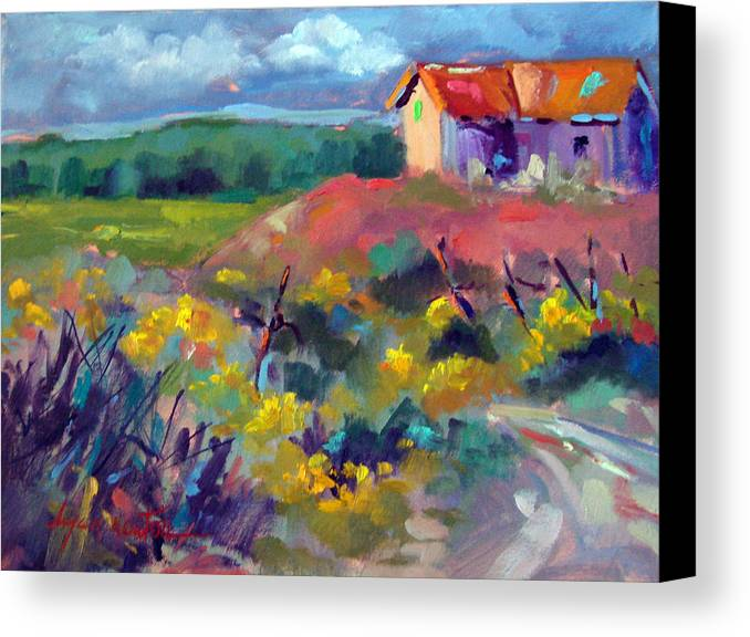 Landscape Canvas Print featuring the painting Sunset At Los Ojos by Dyan Newton