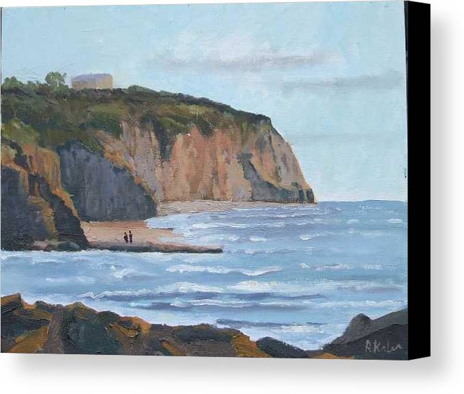 Canvas Print featuring the painting Sunset Cliffs Ca by Raymond Kaler