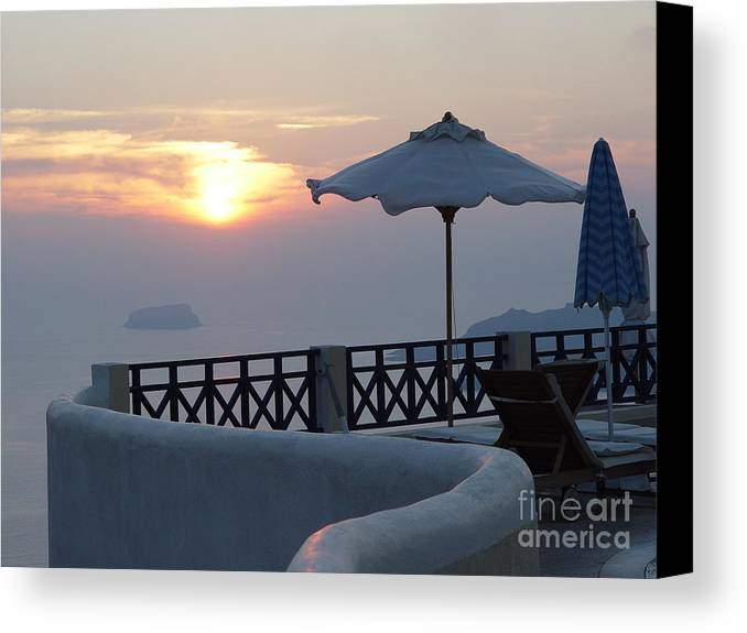 Sunset Canvas Print featuring the photograph Sunset In Santorini by Nancy Bradley