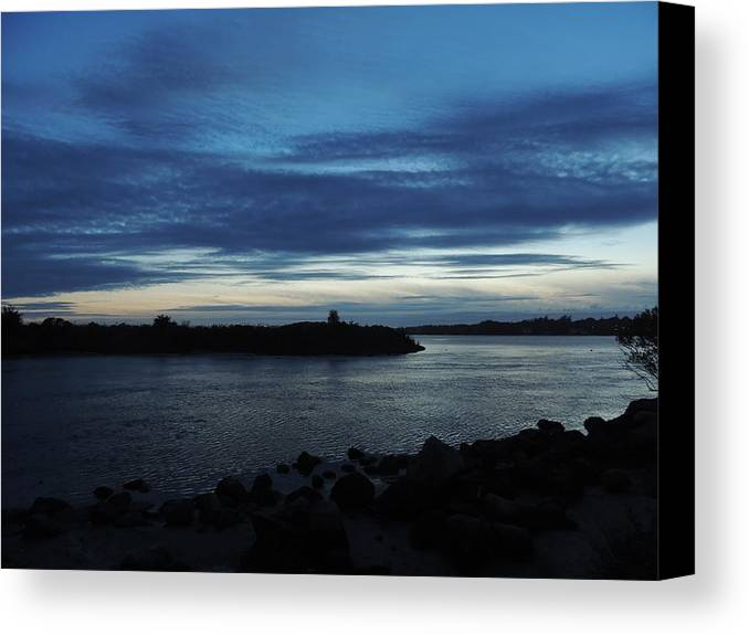 Sunset Canvas Print featuring the photograph Sunset Over Quonny Rhode Island by Anastasia Konn