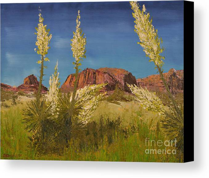 Landscape Canvas Print featuring the painting Superstition Mountain by Jack Hedges