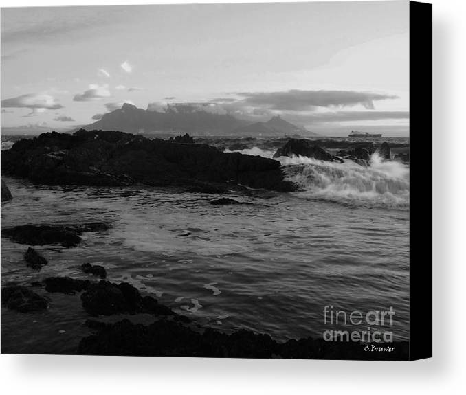 Black And White Canvas Print featuring the photograph Table Mountain Black And White 2 by Charl Bruwer