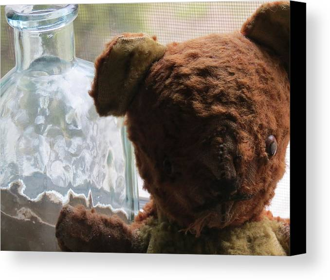 Teddy Bear Canvas Print featuring the glass art Tattered With Love by Devin Stone