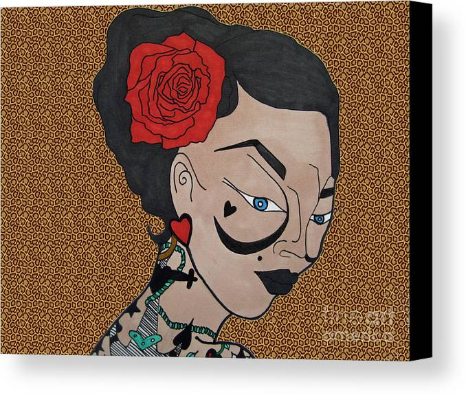 Chica Canvas Print featuring the drawing Tattoo Chic Leopard 2 by Karen Larter