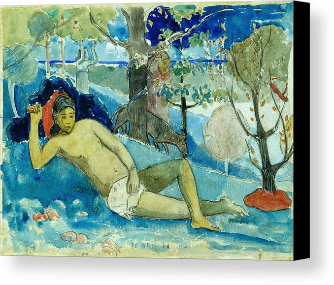 Paul Gauguin Canvas Print featuring the painting Te Arii Vahine .the Queen Of Beauty Or The Noble Queen. by Paul Gauguin