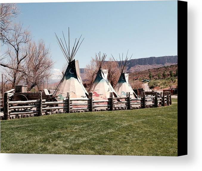 Indian Teepee Canvas Print featuring the photograph Teepee by Aprelle Pierce
