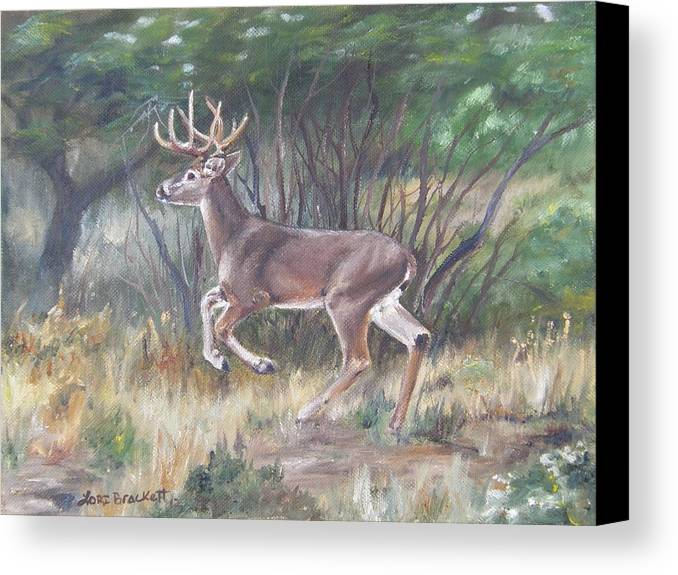 Deer Canvas Print featuring the painting The Chase Is On by Lori Brackett