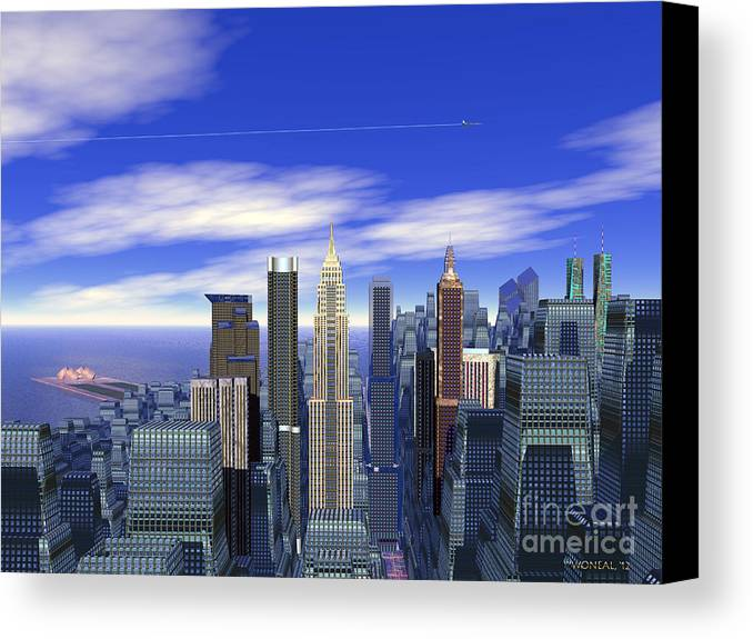 Cities Canvas Print featuring the digital art The City by Walter Oliver Neal