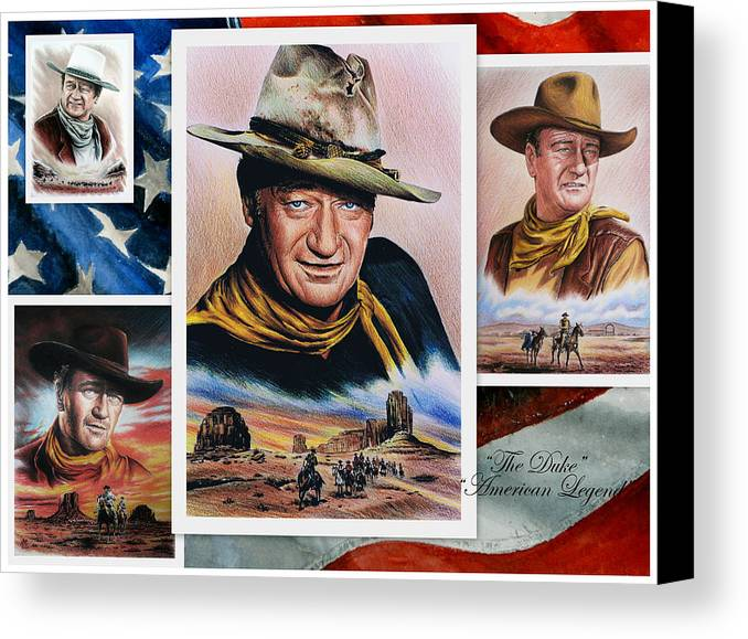 John Wayne Canvas Print featuring the painting The Duke American Legend by Andrew Read