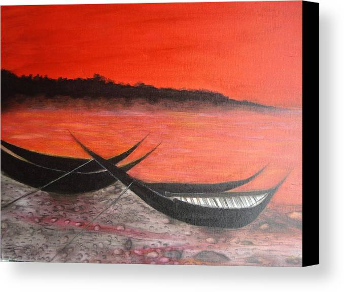 Boats Canvas Print featuring the painting The Farewell Songs Part 1 by Prasenjit Dhar