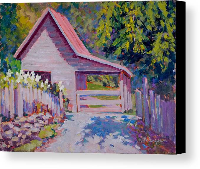 Oil Canvas Print featuring the painting The Little Barn by Keith Burgess