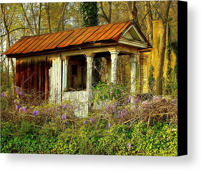Fine Art Canvas Print featuring the photograph The Old Well House by Rodney Lee Williams