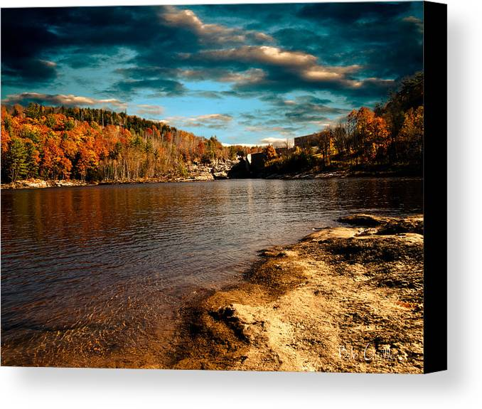 Clouds Canvas Print featuring the photograph The Pool Below Upper Falls Rumford Maine by Bob Orsillo