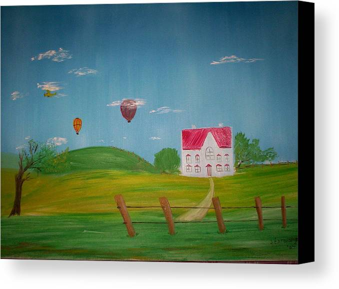 Hot Air Ballons Canvas Print featuring the painting The View From Here by Harold Messler