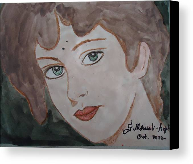 Face Canvas Print featuring the painting The Woman From The Market... by Fladelita Messerli-