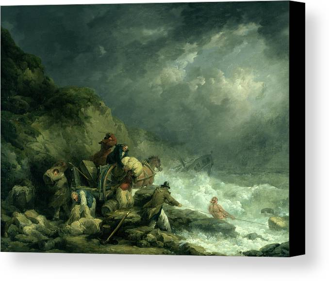 Shipwreck Canvas Print featuring the painting The Wreckers by George Morland