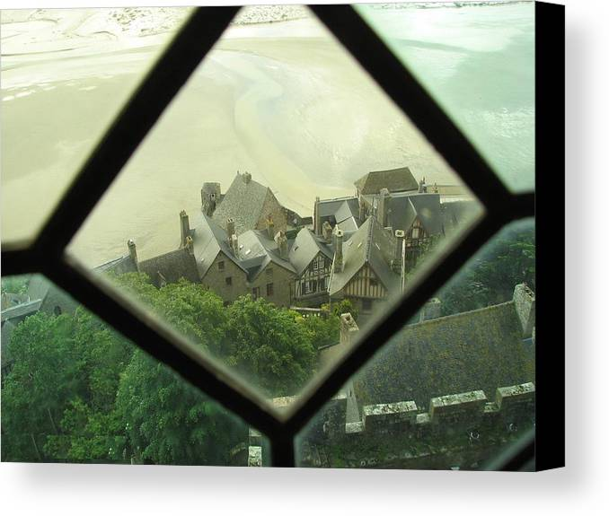 Le Mont St-michel Canvas Print featuring the photograph Through A Window To The Past by Mary Ellen Mueller Legault