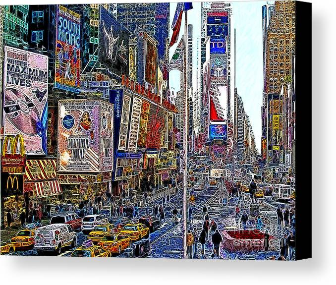 Time Square Canvas Print featuring the photograph Time Square New York 20130430v2 by Wingsdomain Art and Photography